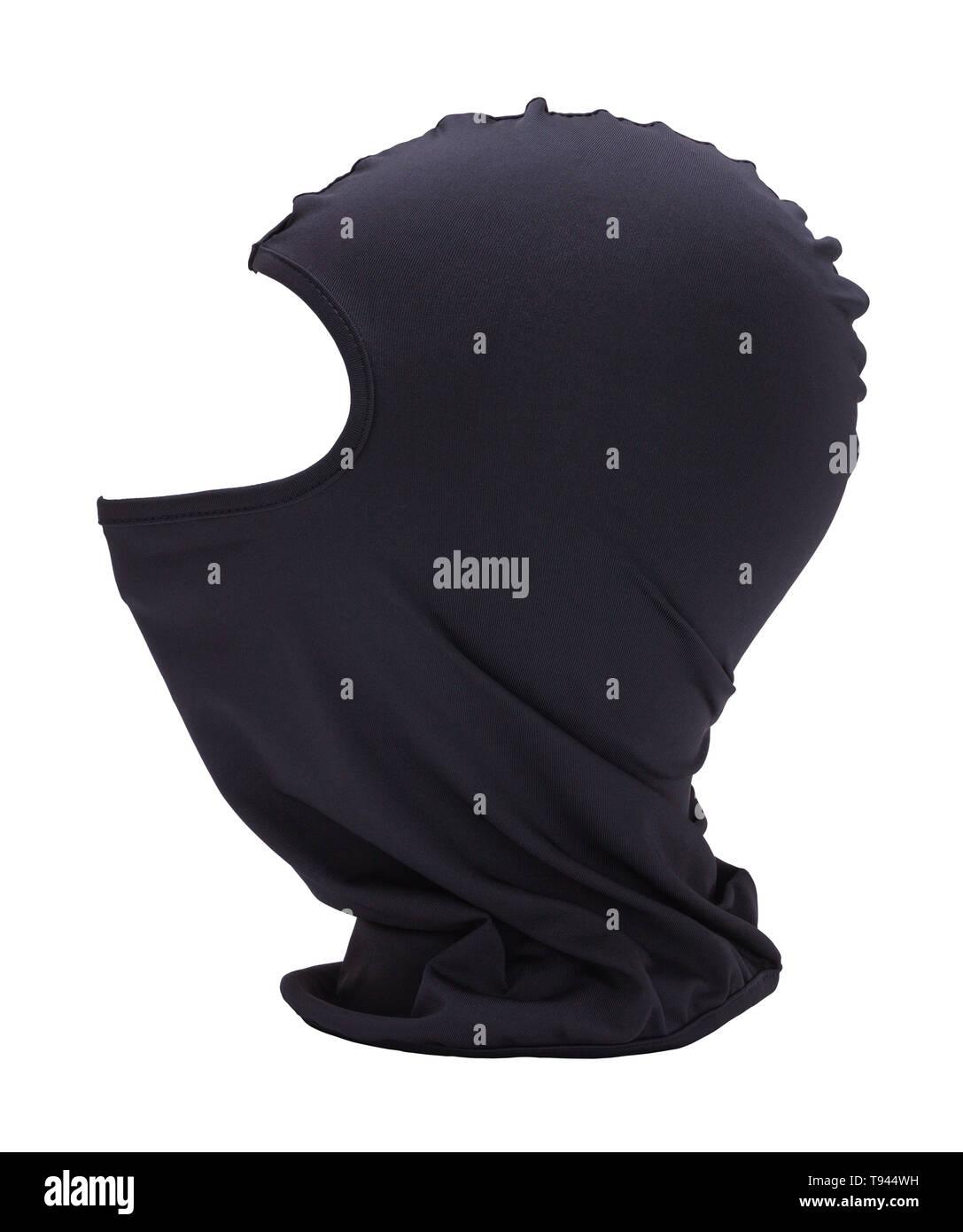 Black Fabric Ninja Mask Isolated on White Background. Stock Photo
