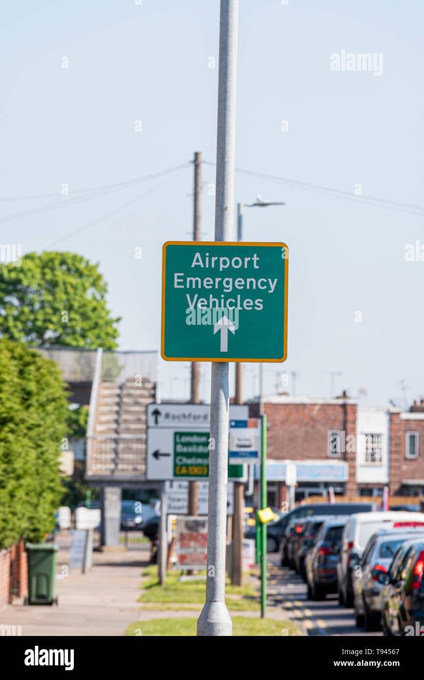 Airport emergency vehicles sign for London Southend Airport, Essex, UK approaching The Bell junction of A127 Prince Avenue, Westcliff on Sea - Stock Image