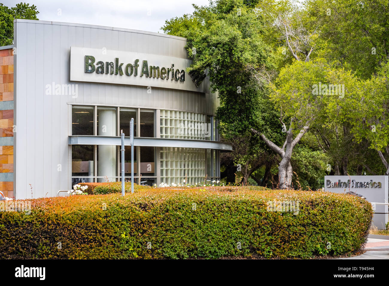 May 9, 2019 Palo Alto / CA / USA - Bank of America branch, San Francisco bay area - Stock Image