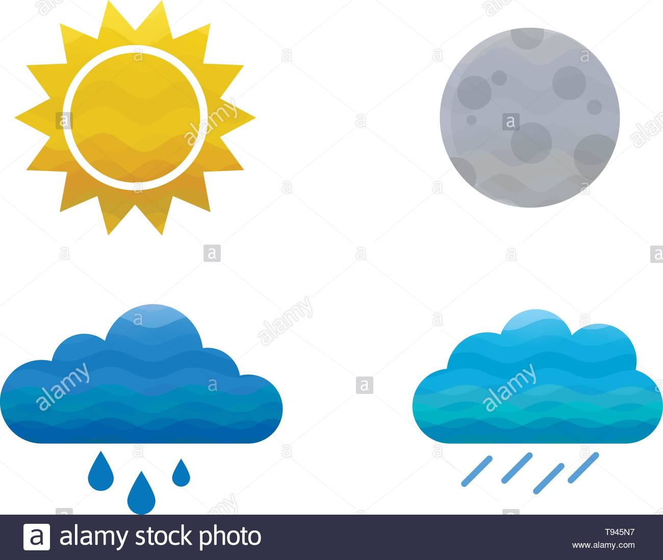 Modern vector weather icons - sun, moon, heavy rain cloouds and rain cloud. - Stock Image