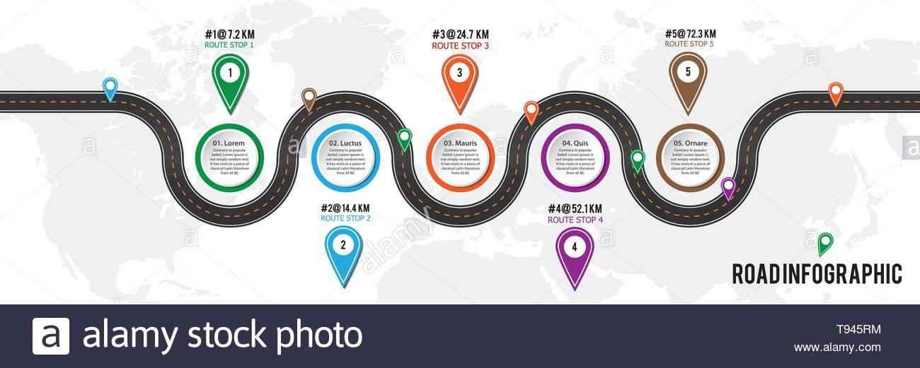 Vector infographic road map with timeline and pins location. - Stock Vector