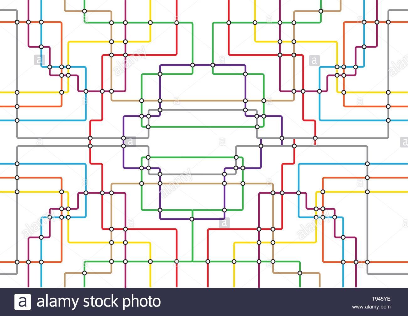 Subway tube map. City transportation vector grid scheme. Metro ... on