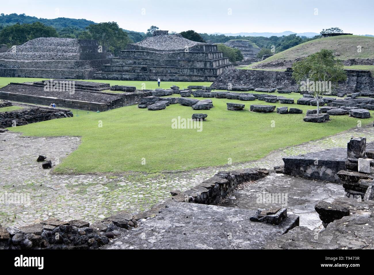 Overview of the Mesoamerica North Ballcourts at the pre-Columbian archeological complex of El Tajin in Tajin, Veracruz, Mexico. El Tajín flourished from 600 to 1200 CE and during this time numerous temples, palaces, ballcourts, and pyramids were built by the Totonac people and is one of the largest and most important cities of the Classic era of Mesoamerica. - Stock Image