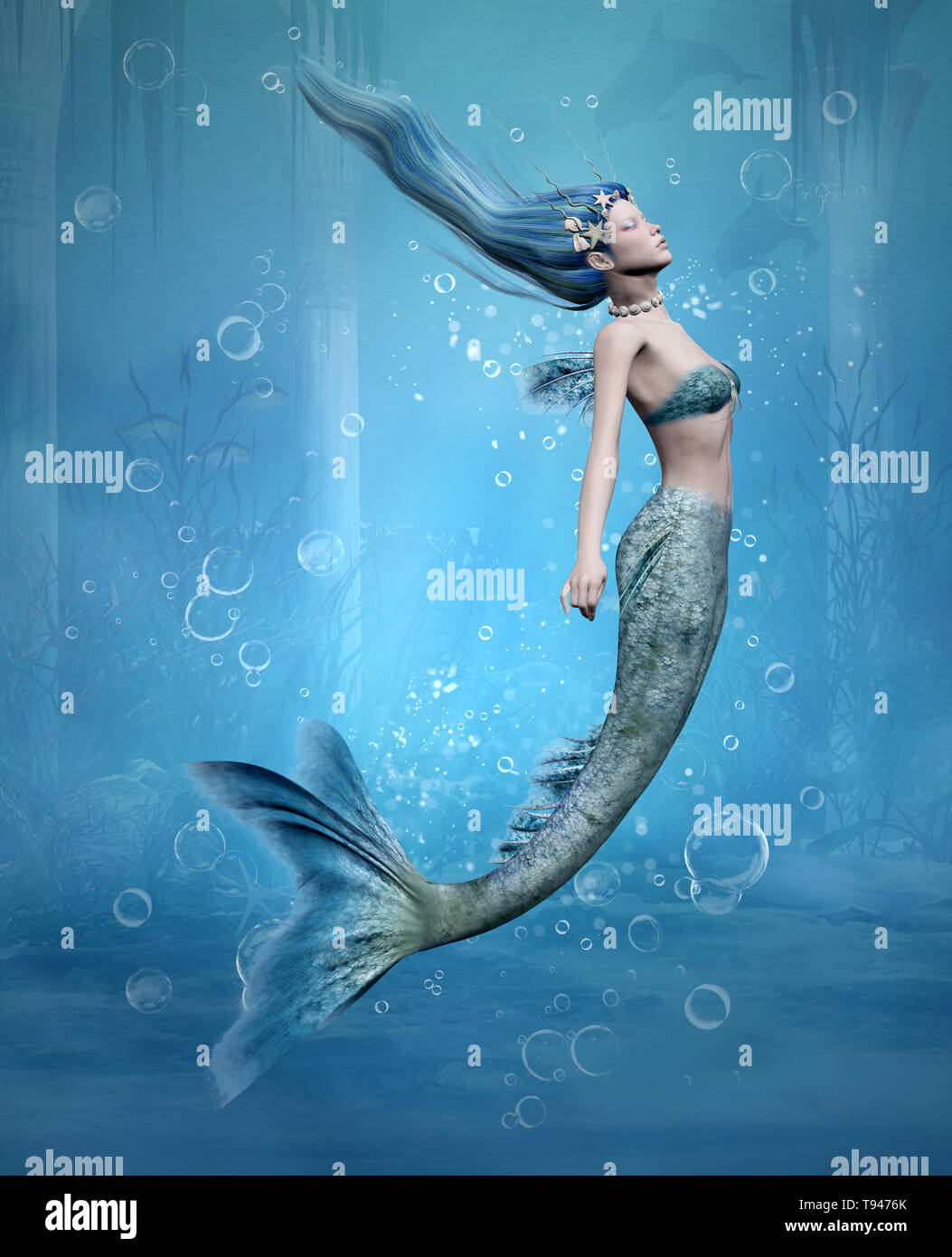 Young mermaid diving in an old underwater temple scenery - Stock Image