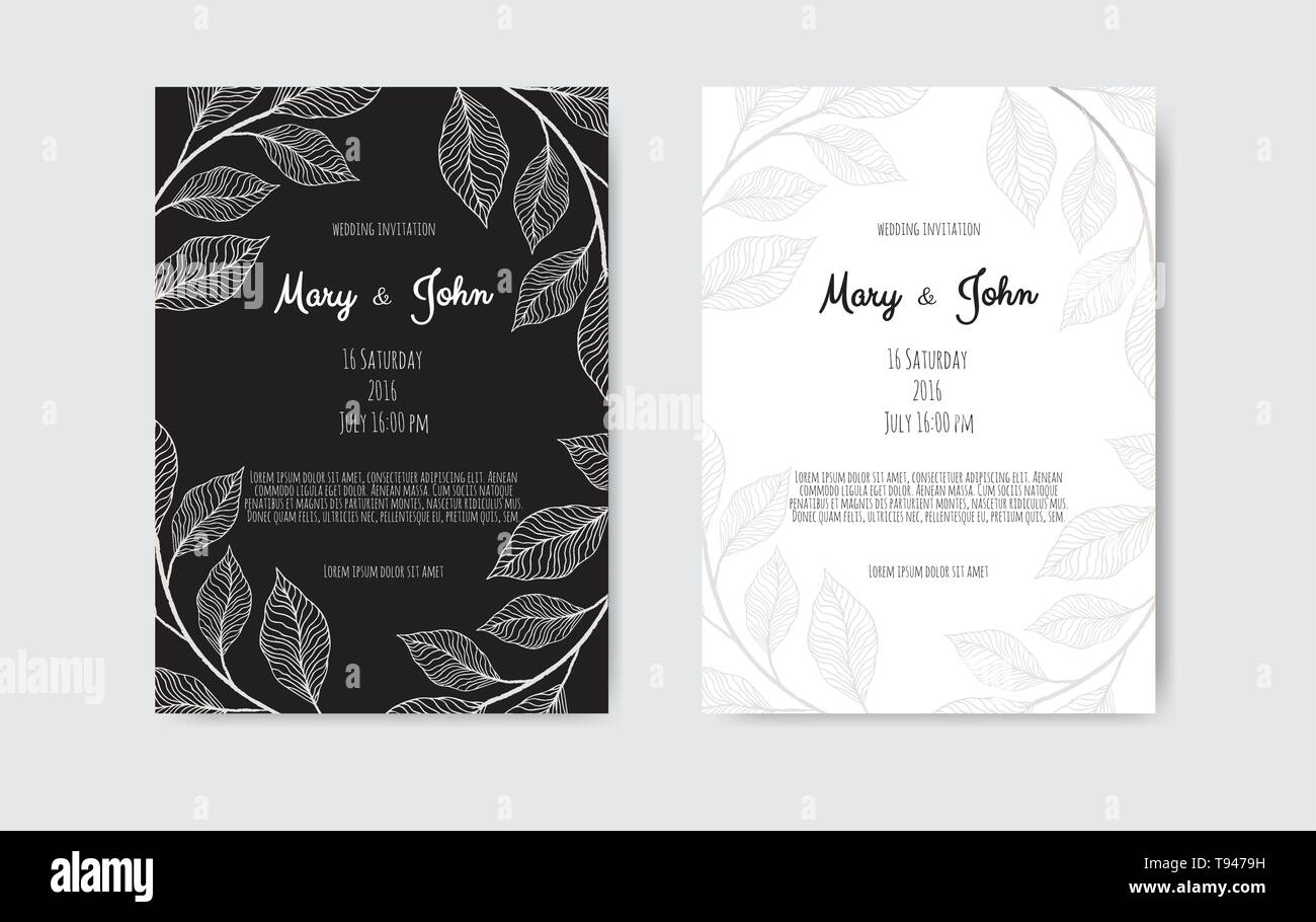 Vector invitation with floral elements. Luxury ornament template