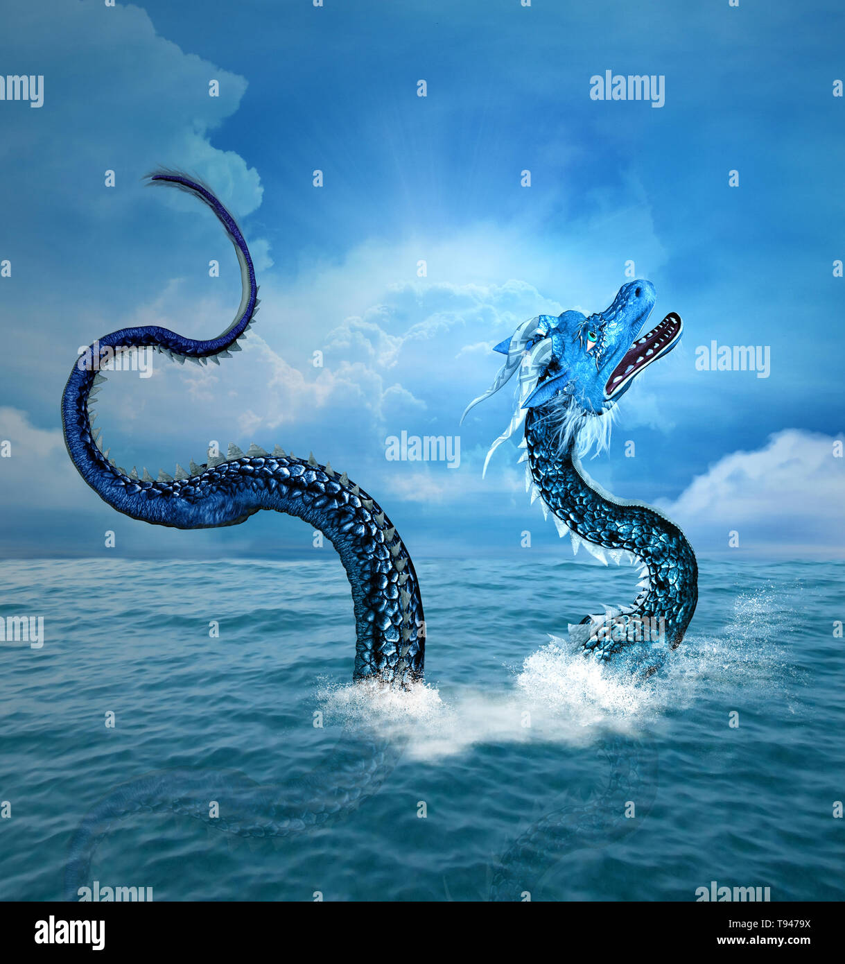 Sea dragon arising from the blue ocean - Stock Image