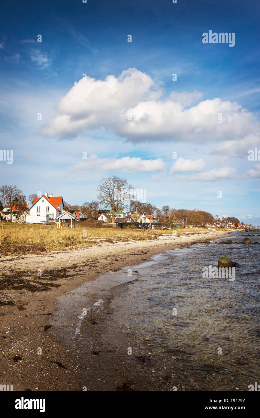 Beach by the coastal village of Humlebaeck, Denmark. - Stock Image