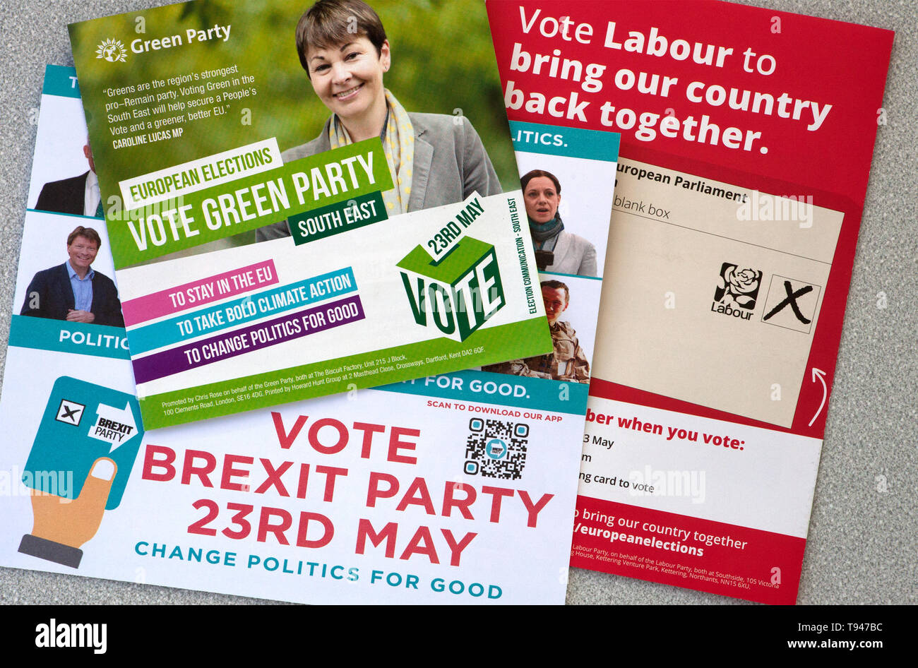 European Elections May 23rd 2019 leaflets - Stock Image