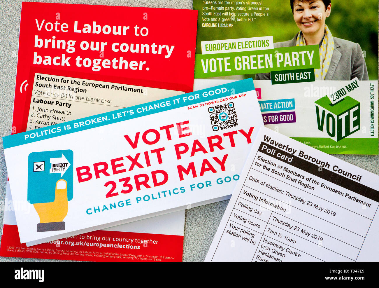 European Elections May 23rd 2019 leaflets and voting card UK - Stock Image