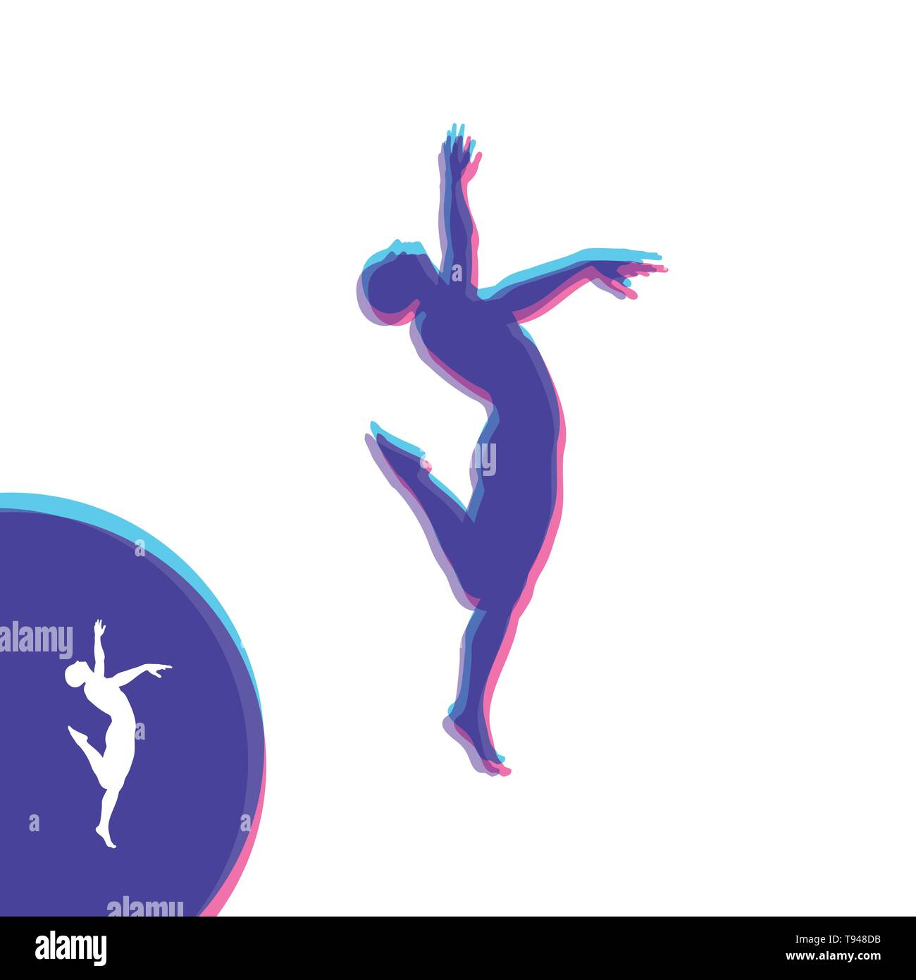 Silhouette of a Dancer. Gymnast. Man is Posing and Dancing. Sport Symbol. Design Element. Vector Illustration. - Stock Vector