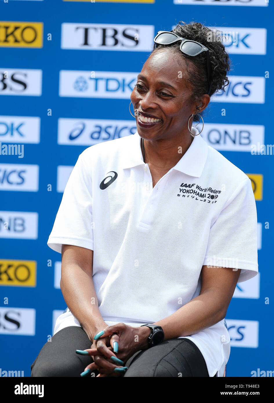 YOKOHAMA, JAPAN - MAY 10: Gail Devers during the official press conference of the 2019 IAAF World Relay Championships at the Nissan Stadium on May 10, 2019 in Yokohama, Japan. (Photo by Roger Sedres for the IAAF) - Stock Image