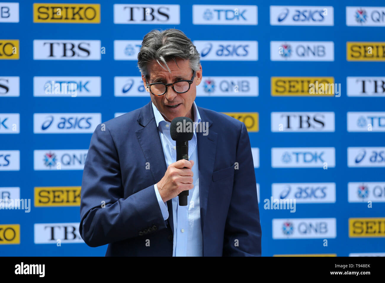 YOKOHAMA, JAPAN - MAY 10: IAAF President, Sebastian Coe, during the official press conference of the 2019 IAAF World Relay Championships at the Nissan Stadium on May 10, 2019 in Yokohama, Japan. (Photo by Roger Sedres for the IAAF) - Stock Image