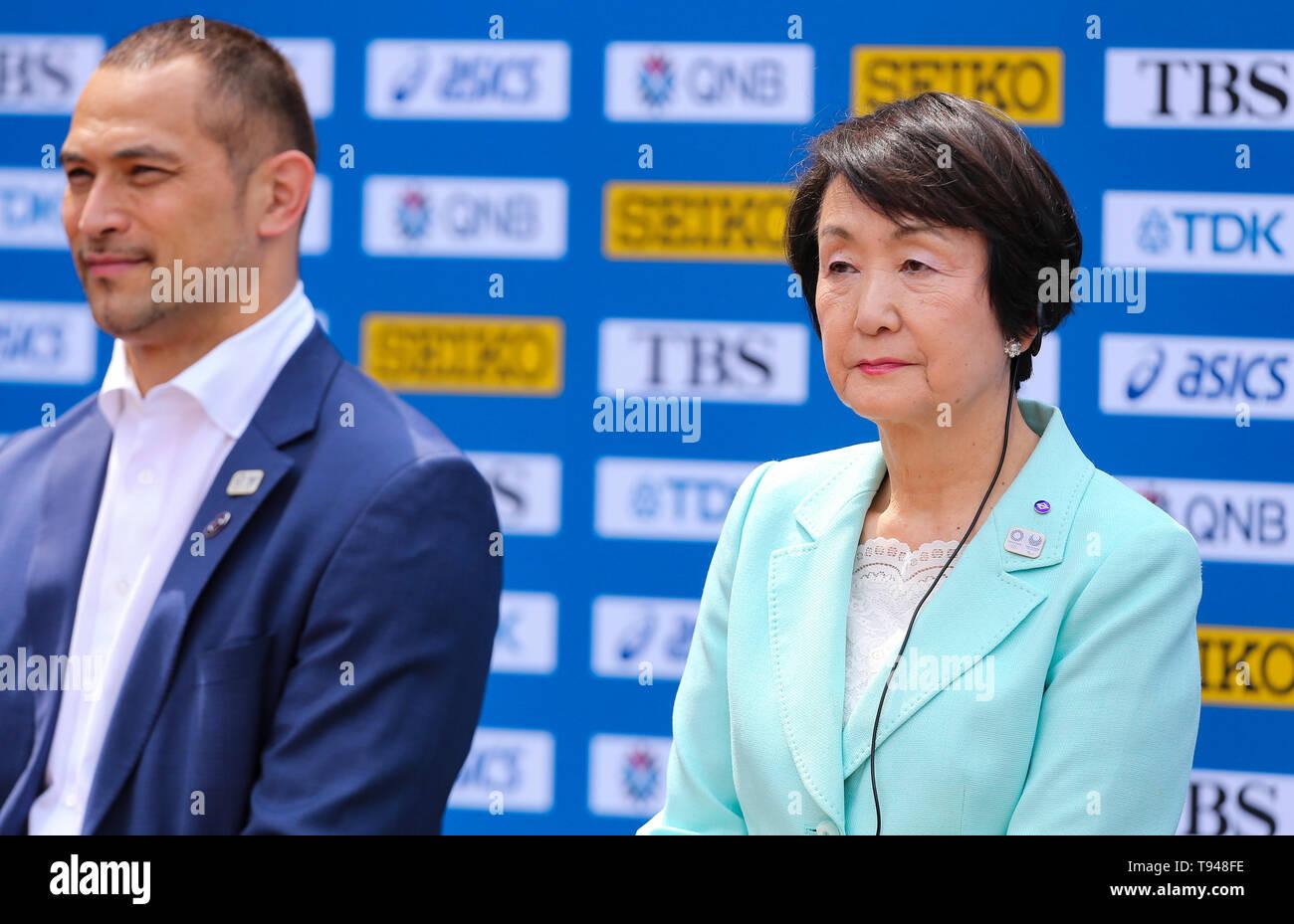 YOKOHAMA, JAPAN - MAY 10: Mayor of Yokohama, Fumiko Hayashi, during the official press conference of the 2019 IAAF World Relay Championships at the Nissan Stadium on May 10, 2019 in Yokohama, Japan. (Photo by Roger Sedres for the IAAF) - Stock Image