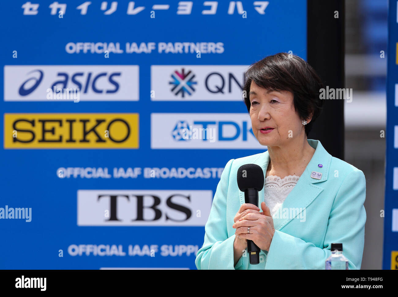 YOKOHAMA, JAPAN - MAY 10: Mayor of Yokohama, Fumiko Hayashi, during the official press conference of the 2019 IAAF World Relay Championships at the Nissan Stadium on May 10, 2019 in Yokohama, Japan. (Photo by Roger Sedres for the IAAF) - Stock Image