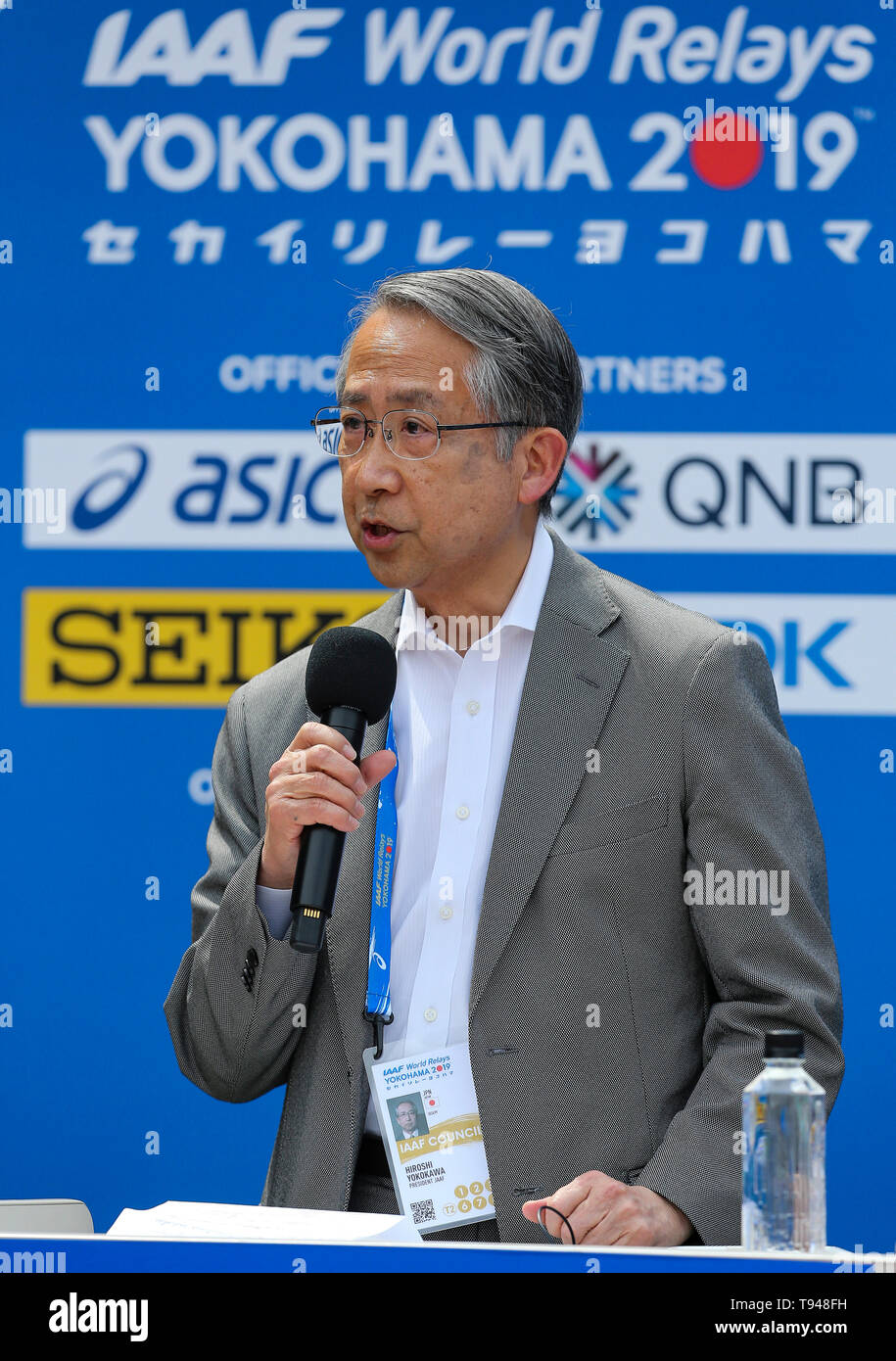 YOKOHAMA, JAPAN - MAY 10: JAAF President Hiroshi Yokokawa during the official press conference of the 2019 IAAF World Relay Championships at the Nissan Stadium on May 10, 2019 in Yokohama, Japan. (Photo by Roger Sedres for the IAAF) Stock Photo