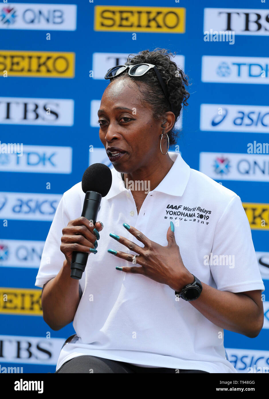 YOKOHAMA, JAPAN - MAY 10: Gail Devers, IAAF Ambassador, during the official press conference of the 2019 IAAF World Relay Championships at the Nissan Stadium on May 10, 2019 in Yokohama, Japan. (Photo by Roger Sedres for the IAAF) Stock Photo