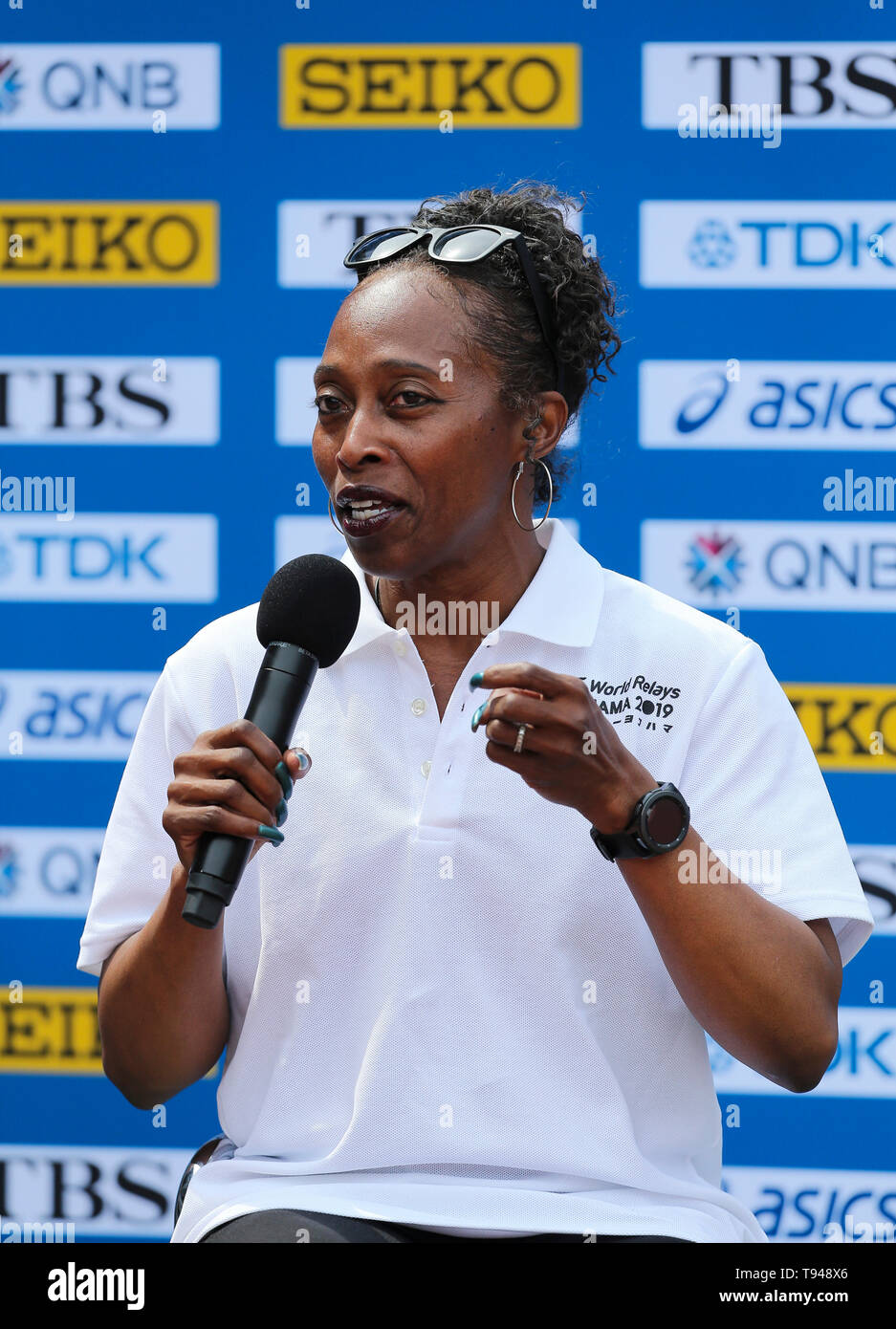 YOKOHAMA, JAPAN - MAY 10: Gail Devers, IAAF Ambassador, during the official press conference of the 2019 IAAF World Relay Championships at the Nissan Stadium on May 10, 2019 in Yokohama, Japan. (Photo by Roger Sedres for the IAAF) - Stock Image