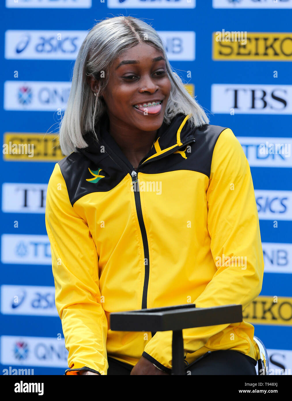 YOKOHAMA, JAPAN - MAY 10: Elaine Thompson of Jamaica during the official press conference of the 2019 IAAF World Relay Championships at the Nissan Stadium on May 10, 2019 in Yokohama, Japan. (Photo by Roger Sedres for the IAAF) Stock Photo