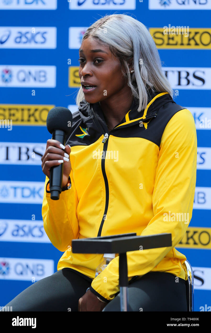 YOKOHAMA, JAPAN - MAY 10: Elaine Thompson of Jamaica during the official press conference of the 2019 IAAF World Relay Championships at the Nissan Stadium on May 10, 2019 in Yokohama, Japan. (Photo by Roger Sedres for the IAAF) - Stock Image