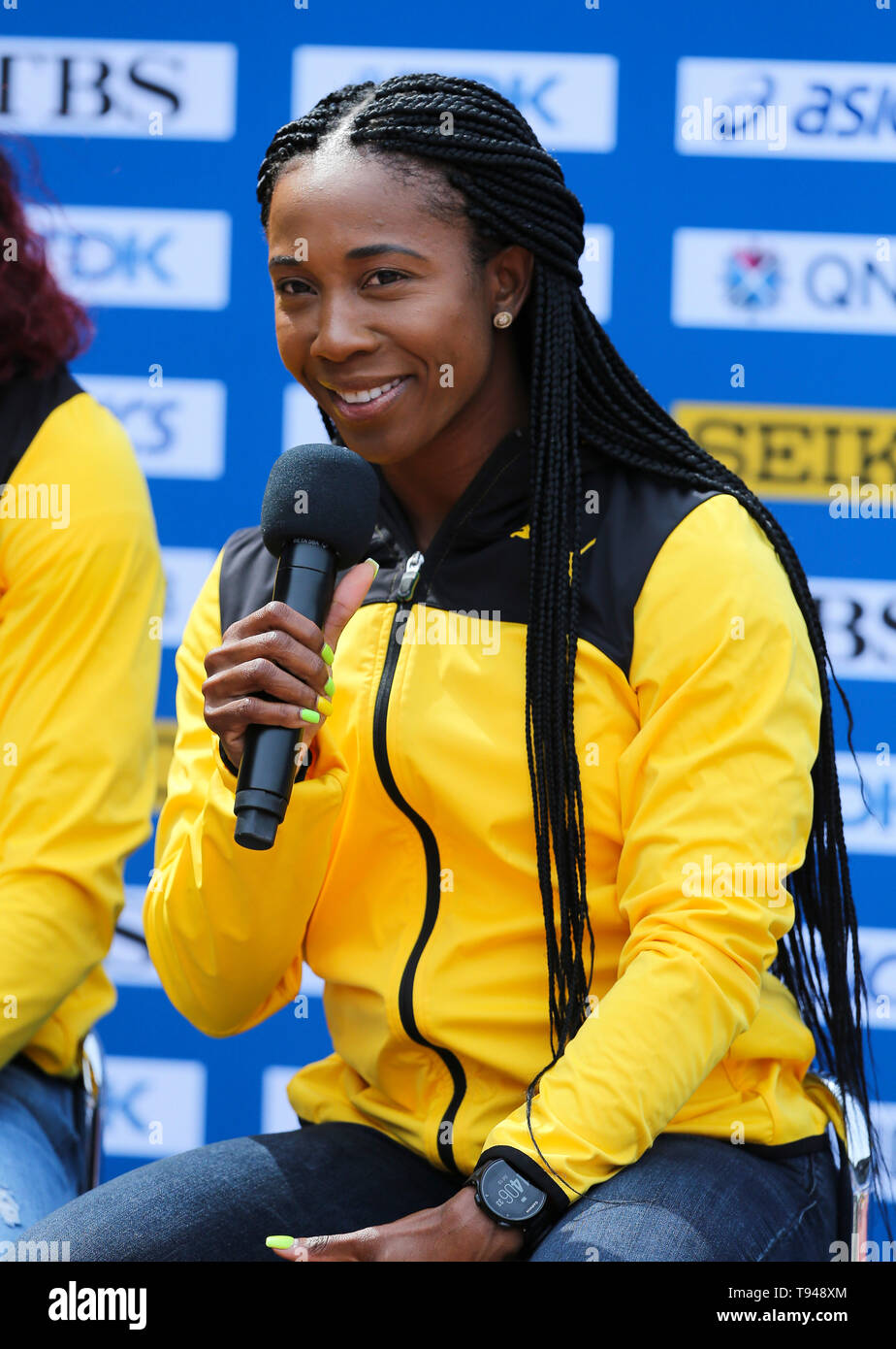 YOKOHAMA, JAPAN - MAY 10: Shelly-Ann Fraser-Pryce of Jamaica during the official press conference of the 2019 IAAF World Relay Championships at the Nissan Stadium on May 10, 2019 in Yokohama, Japan. (Photo by Roger Sedres for the IAAF) Stock Photo