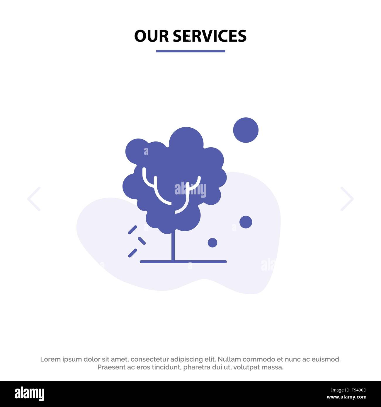 Our Services Dry, Global, Soil, Tree, Warming Solid Glyph Icon Web card Template - Stock Image