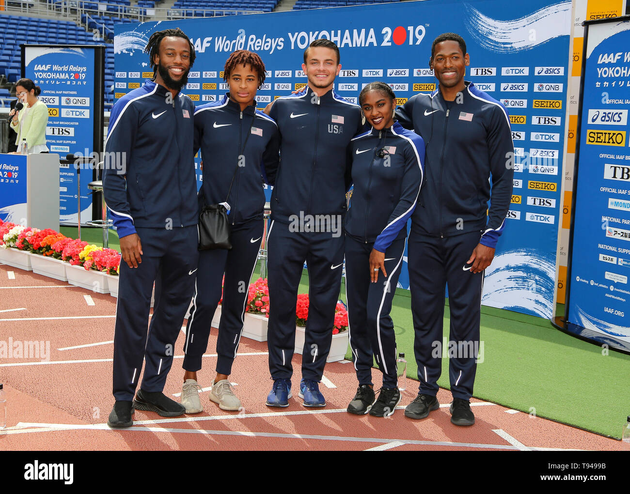 YOKOHAMA, JAPAN - MAY 10: USA's shuttle hurdles relay team (Devon Allen, Christina Clemons, Freddie Crittenden, Ryan Fontenot, Queen Harrison, Sharika Nelvis) during the official press conference of the 2019 IAAF World Relay Championships at the Nissan Stadium on May 10, 2019 in Yokohama, Japan. (Photo by Roger Sedres for the IAAF) Stock Photo