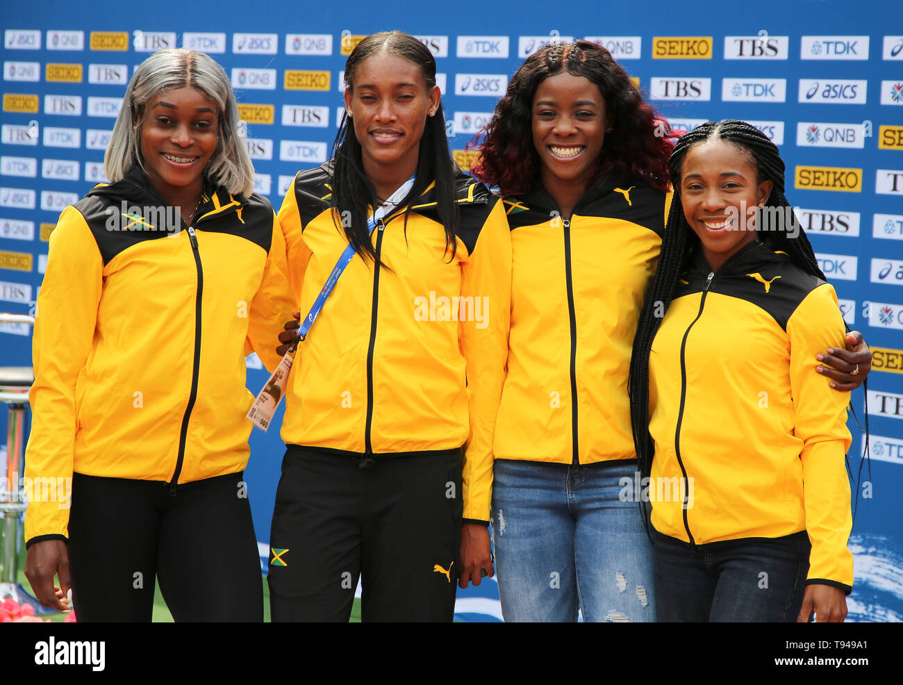 YOKOHAMA, JAPAN - MAY 10: Jamaica's women's 4x200m team (Shelly-Ann Fraser-Pryce, Shericka Jackson, Stephenie Ann McPherson, Elaine Thompson)  during the official press conference of the 2019 IAAF World Relay Championships at the Nissan Stadium on May 10, 2019 in Yokohama, Japan. (Photo by Roger Sedres for the IAAF) Stock Photo