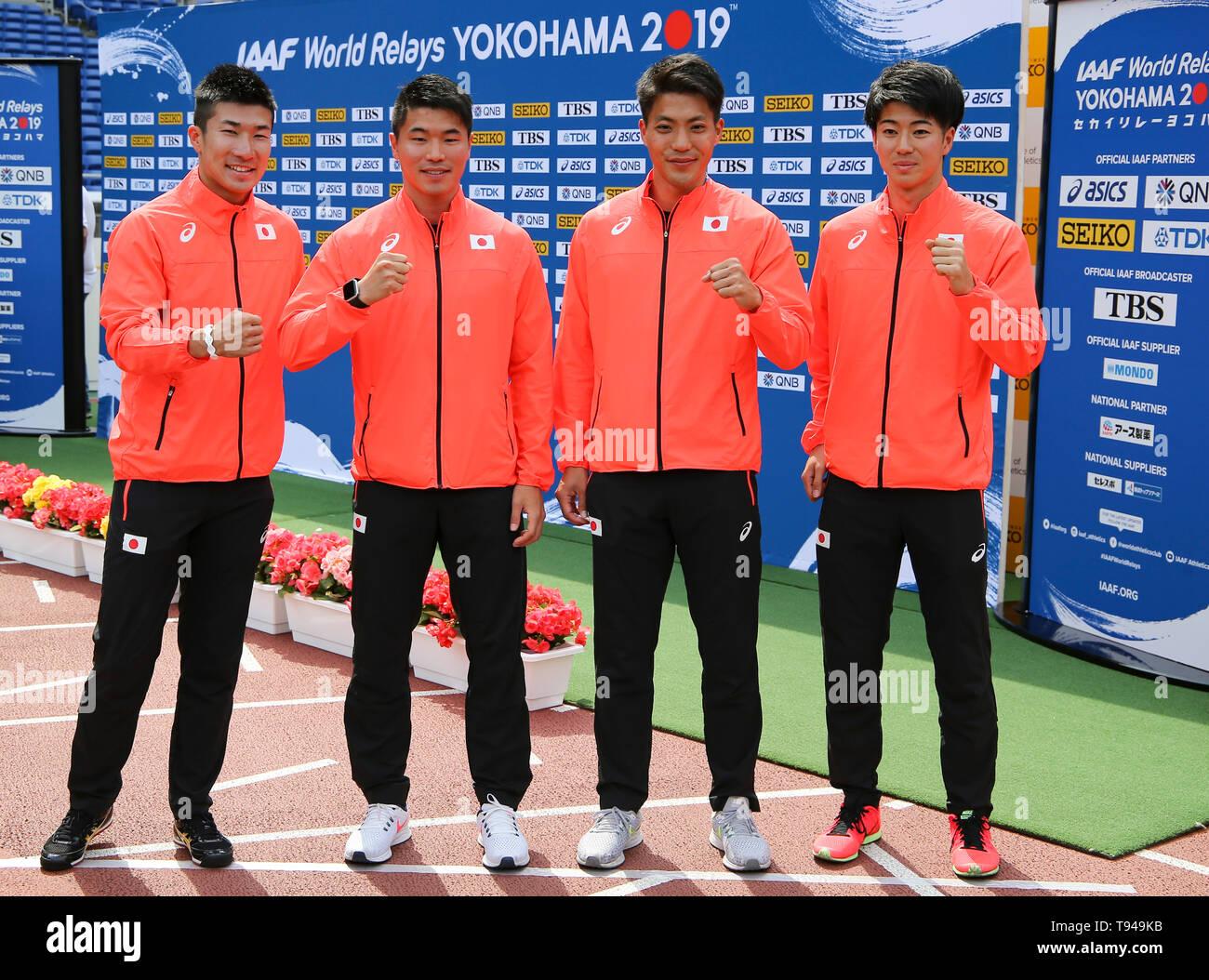 YOKOHAMA, JAPAN - MAY 10: Japan's 4x100m team (Yoshihide Kiryu, Ryota Yamagata, Yuki Koike, Shuhei Tada) during the official press conference of the 2019 IAAF World Relay Championships at the Nissan Stadium on May 10, 2019 in Yokohama, Japan. (Photo by Roger Sedres for the IAAF) - Stock Image