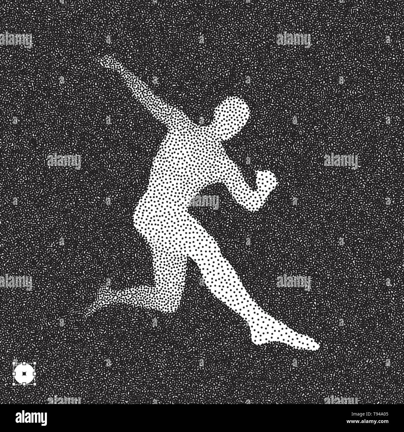 Football player. 3D model of man. Black and white grainy dotwork design. Stippled vector illustration. - Stock Vector