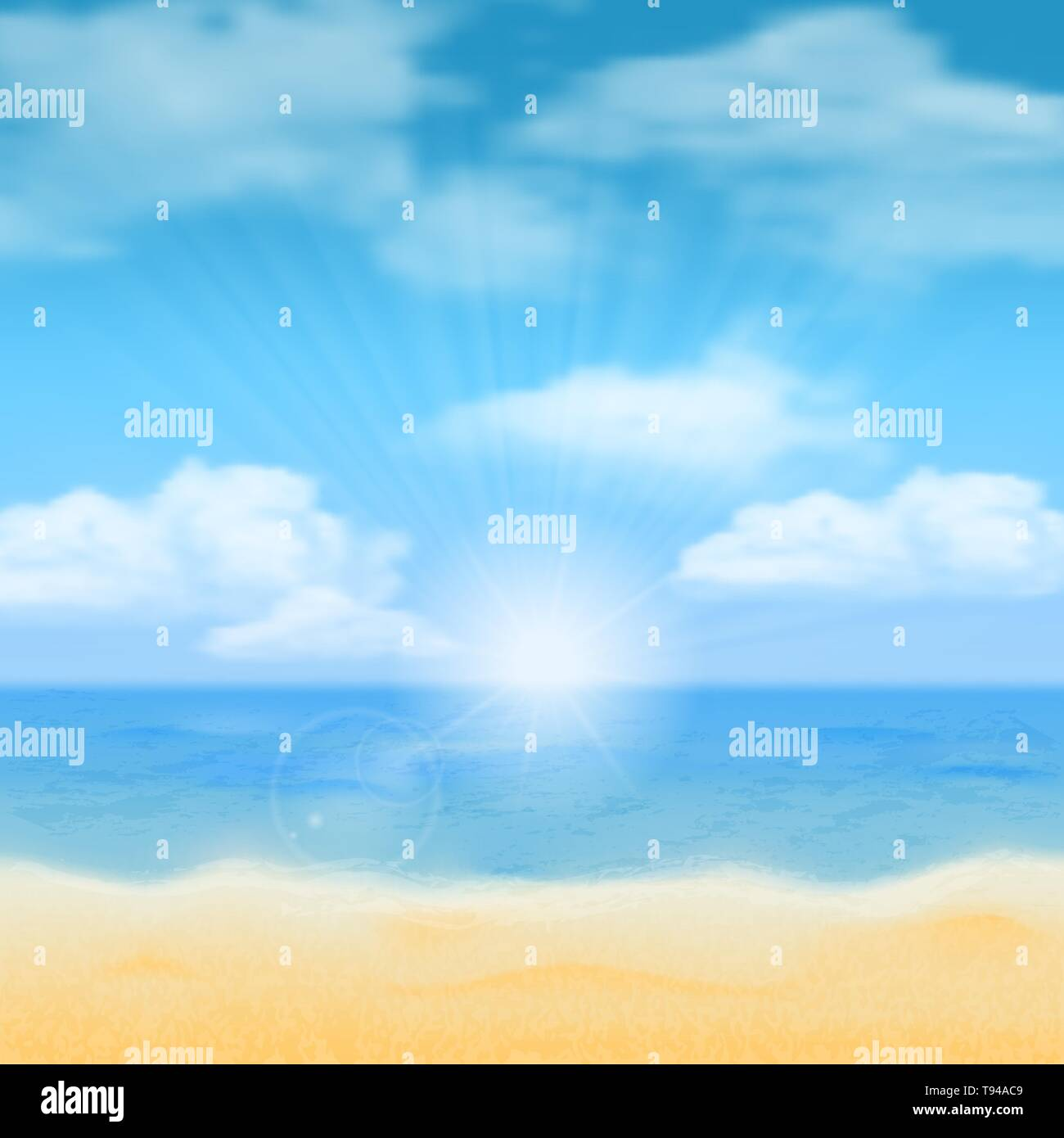 Sun over the sea horizon and the clouds.  - Stock Vector