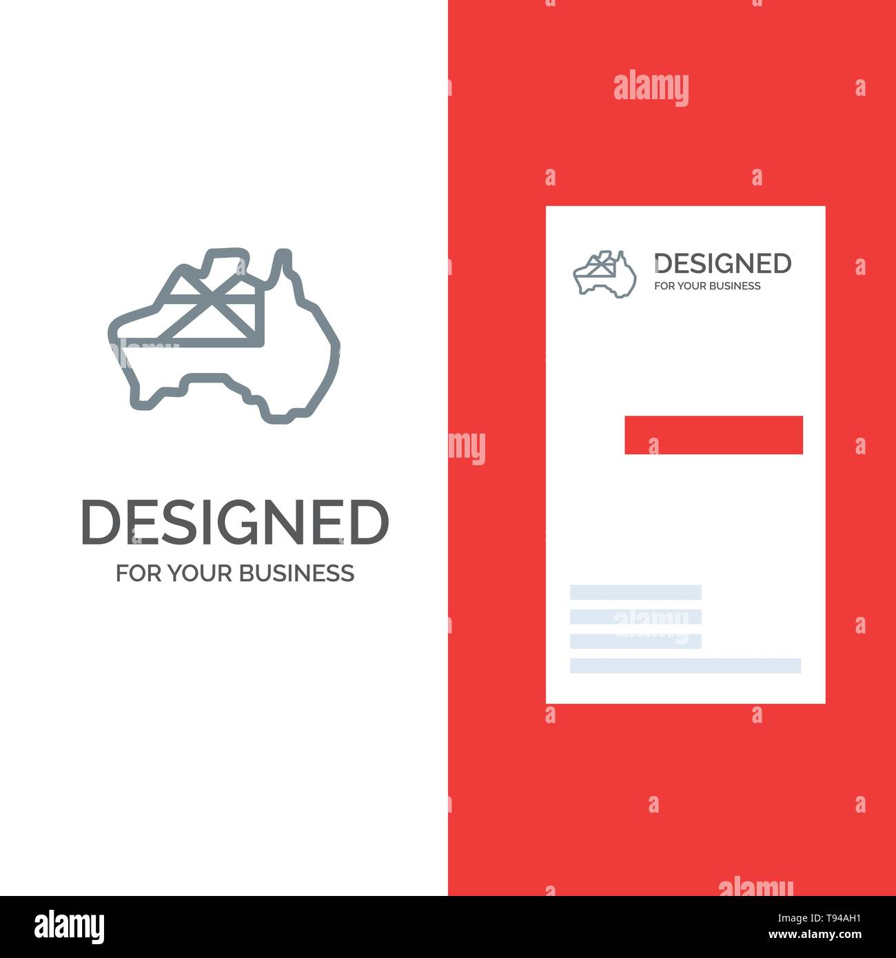 Australia Map Template.Australia Map Country Flag Grey Logo Design And Business Card