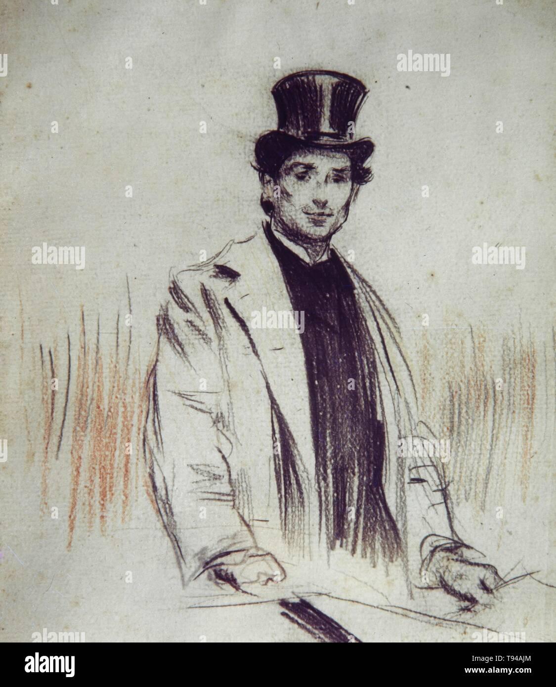Ramon Casas / 'Retrato de Pompeu Fabra', 1911, Lápiz y pastel sobre papel, 27,7 x 21,6 cm. - Stock Image