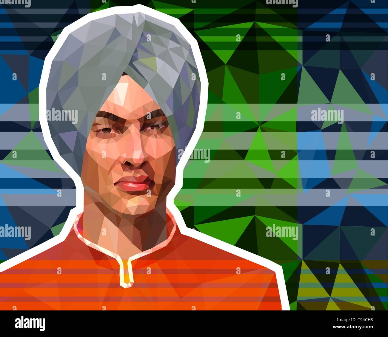 The illustration in the low polygon style - a portrait of a young Muslim in a turban. - Stock Vector