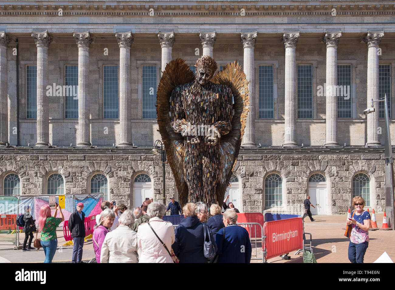 The Knife Angel sculpture by Alfie Bradley is made from thousands of surrendered knives and promotes the effect of knife crime on society. - Stock Image