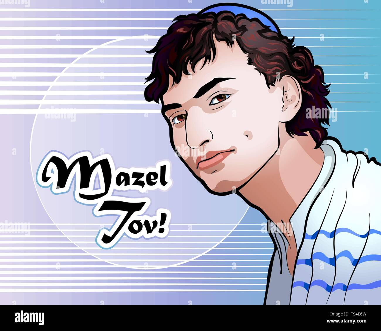 Vector illustration - a portrait of a beautiful Jewish youth - Stock Vector