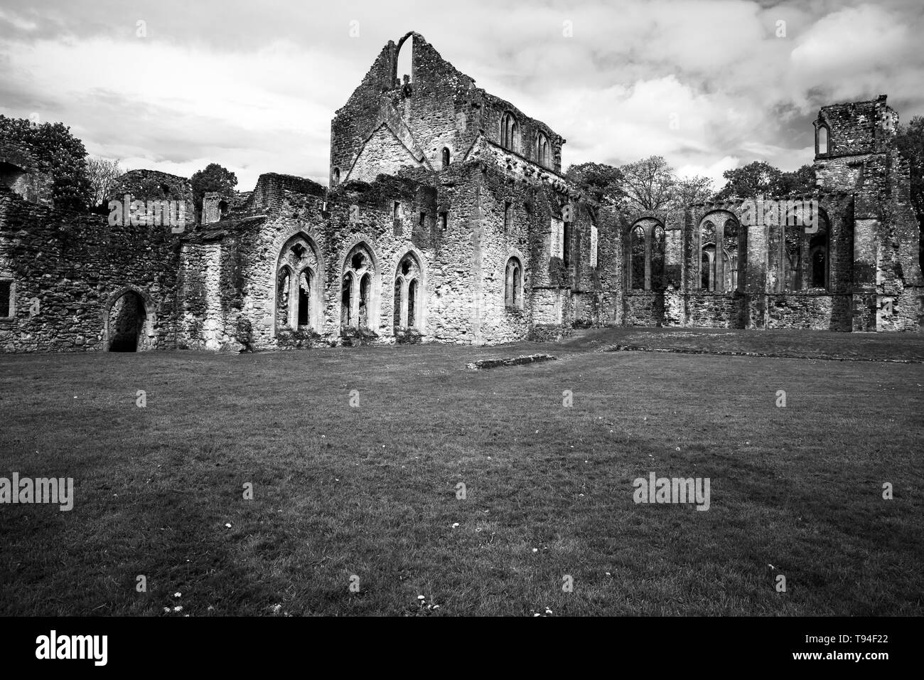 Black and White image of the ruined Cistercian Abbey at Netley, Southampton, UK which dates from the 13th century - Stock Image