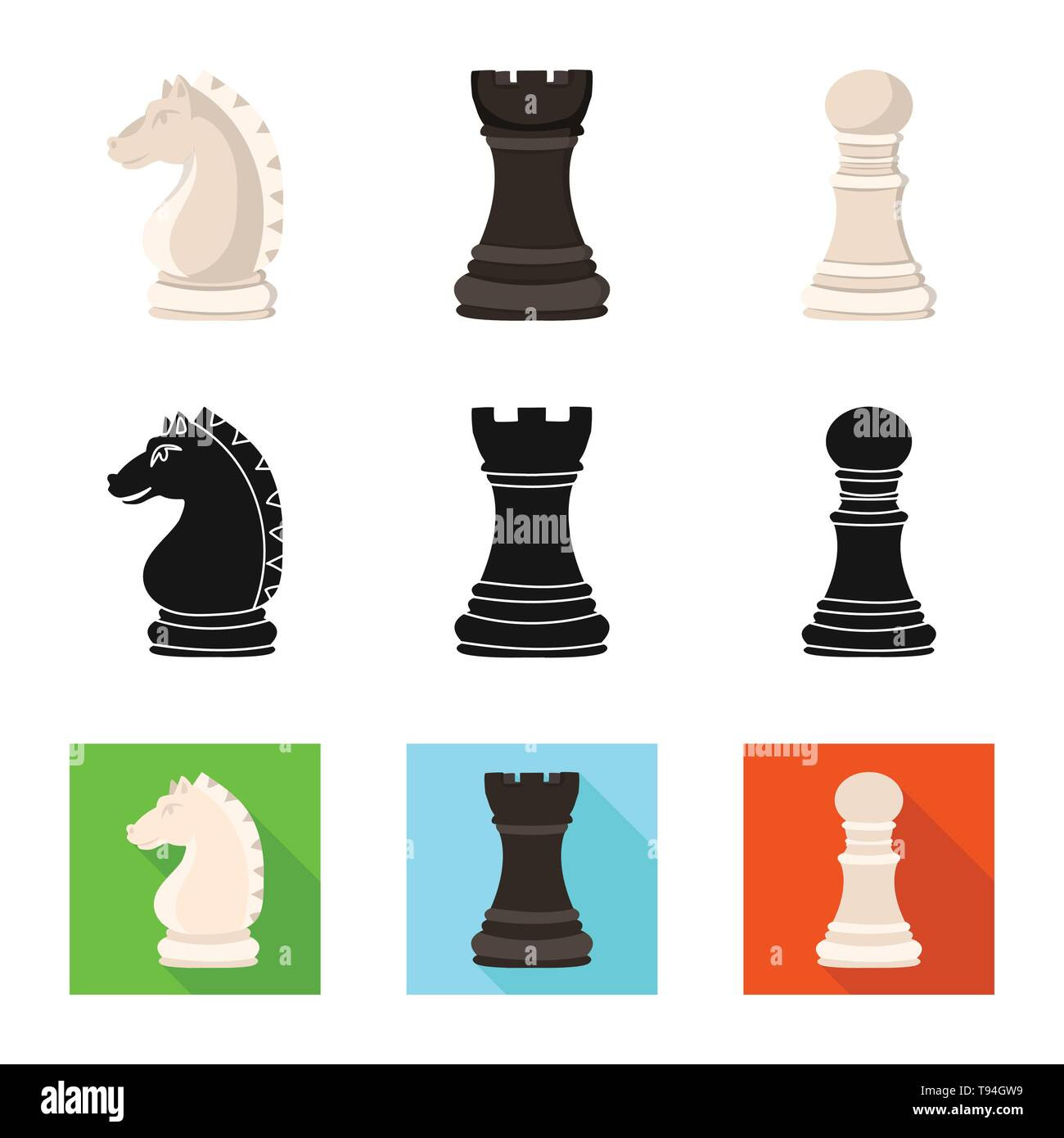 Isolated object of checkmate and thin icon. Collection of checkmate and target stock symbol for web. - Stock Image