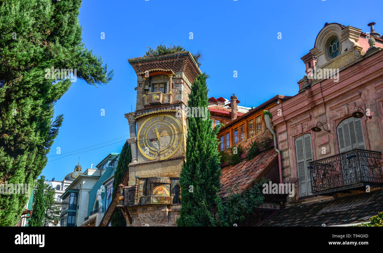 Tbilisi, Georgia - Sep 23, 2018. Falling Clock Tower of Rezo Gabriadze Puppet Theater in old town of Tbilisi, Georgia. - Stock Image