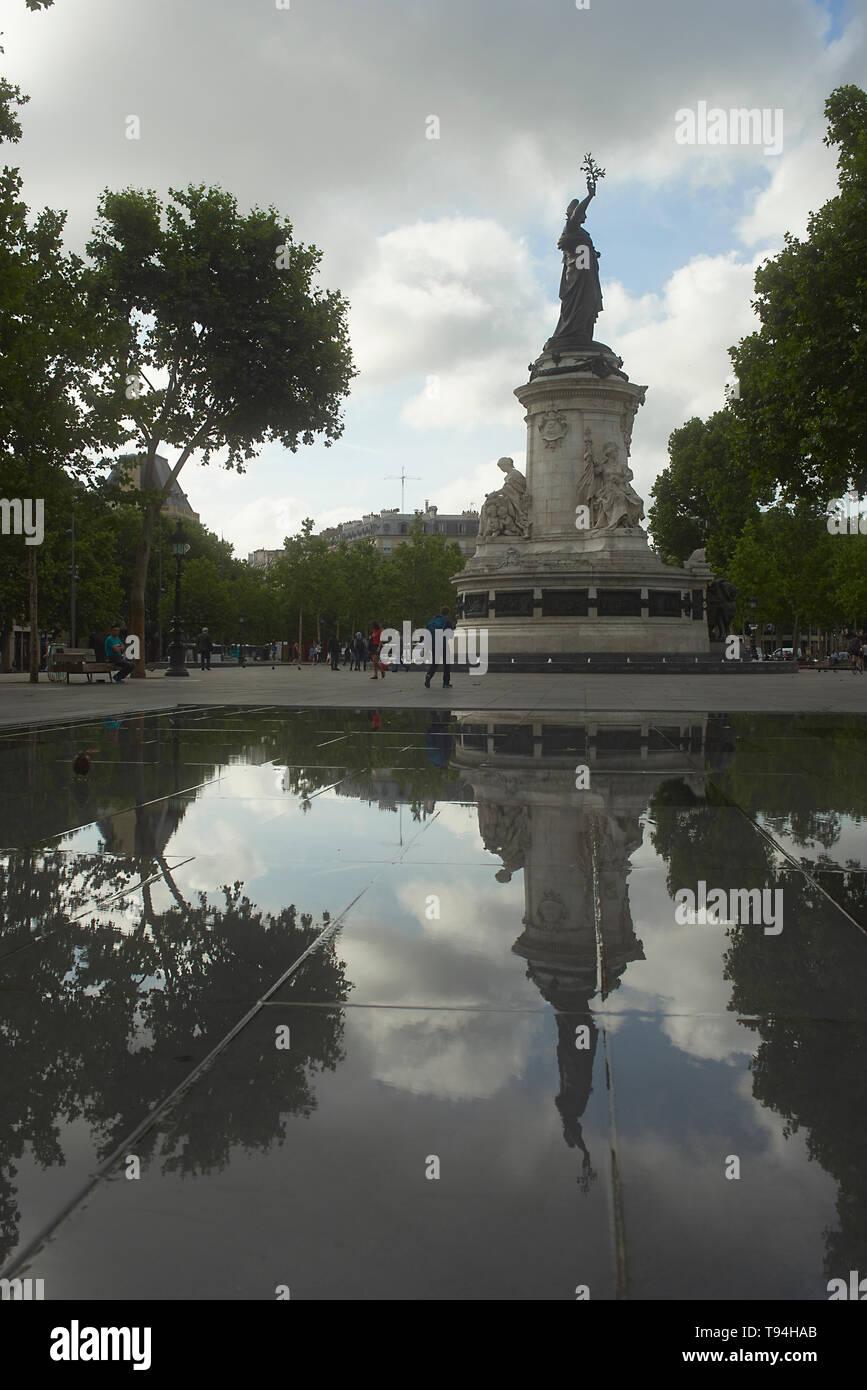 Place de la Republique square in morning spring sunshine - Stock Image