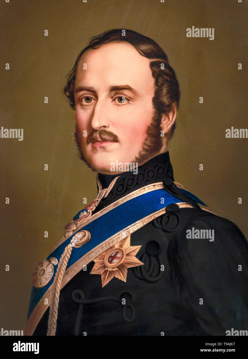 Prince Albert, portrait painting, Garter Star, c. 1866 - Stock Image