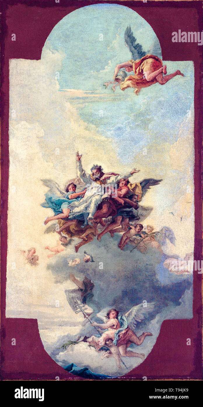 Giovanni Domenico Tiepolo, The Apotheosis of a Pope and Martyr, painting c. 1780 - Stock Image
