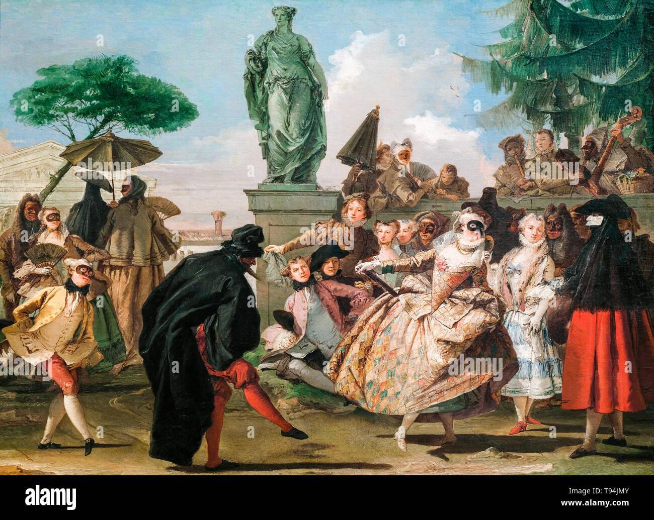 Giovanni Domenico Tiepolo, The Minuet, painting 1756 - Stock Image