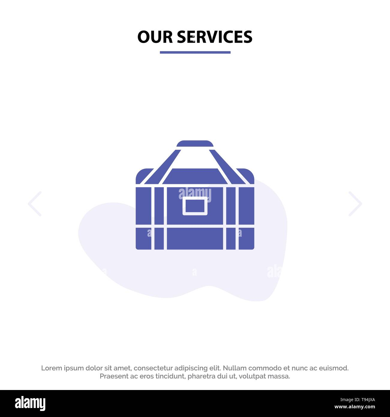 Our Services Bag, Equipment, Gym, Sports Solid Glyph Icon Web card Template - Stock Image