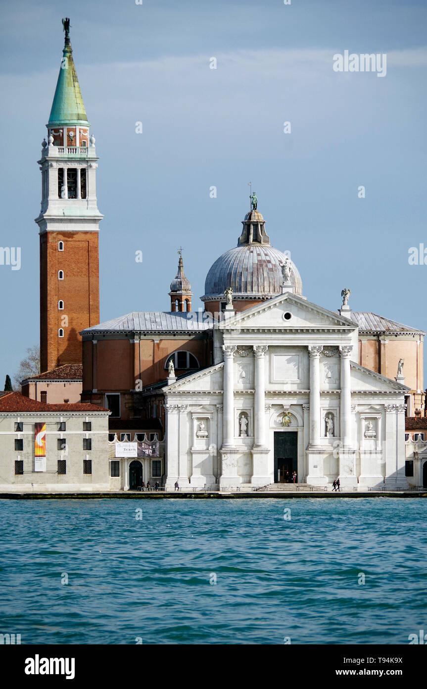 Church of San Giorgio Maggiore, Venice, located on its own island, in Bacino San Marco, facing Piazza San Marco, architect Andrea Palladio, - Stock Image