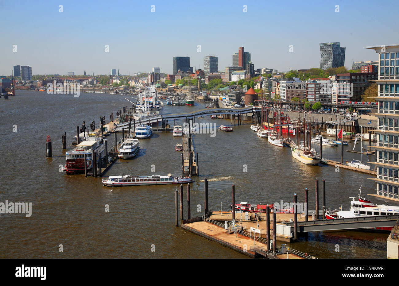 View from Elbphilharmonie over river Elbe und the nharbour, Hamburg, Germany, Europe Stock Photo