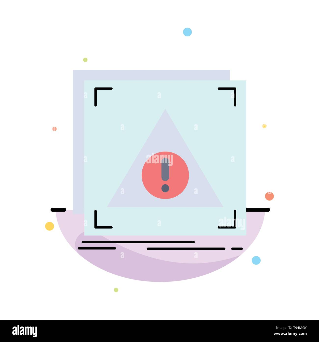 Error, Application, Denied, server, alert Flat Color Icon Vector - Stock Image