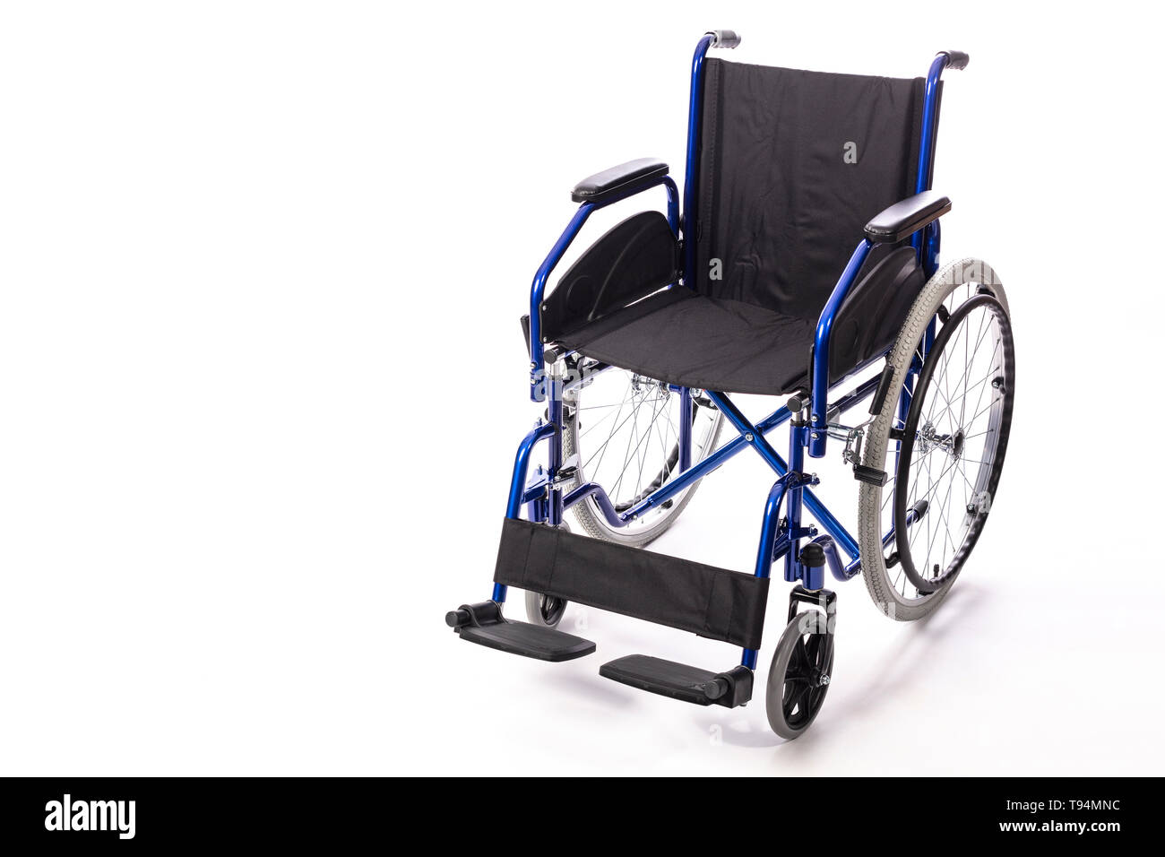 wheelchair for the disabled on a white background front view - Stock Image