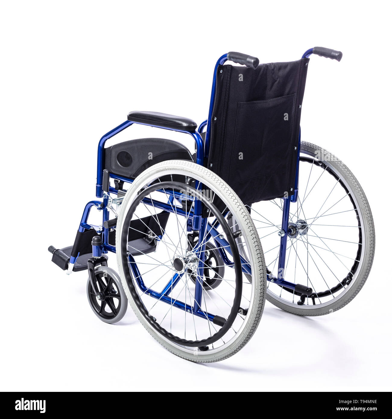wheelchair for the disabled on a white background rear view - Stock Image