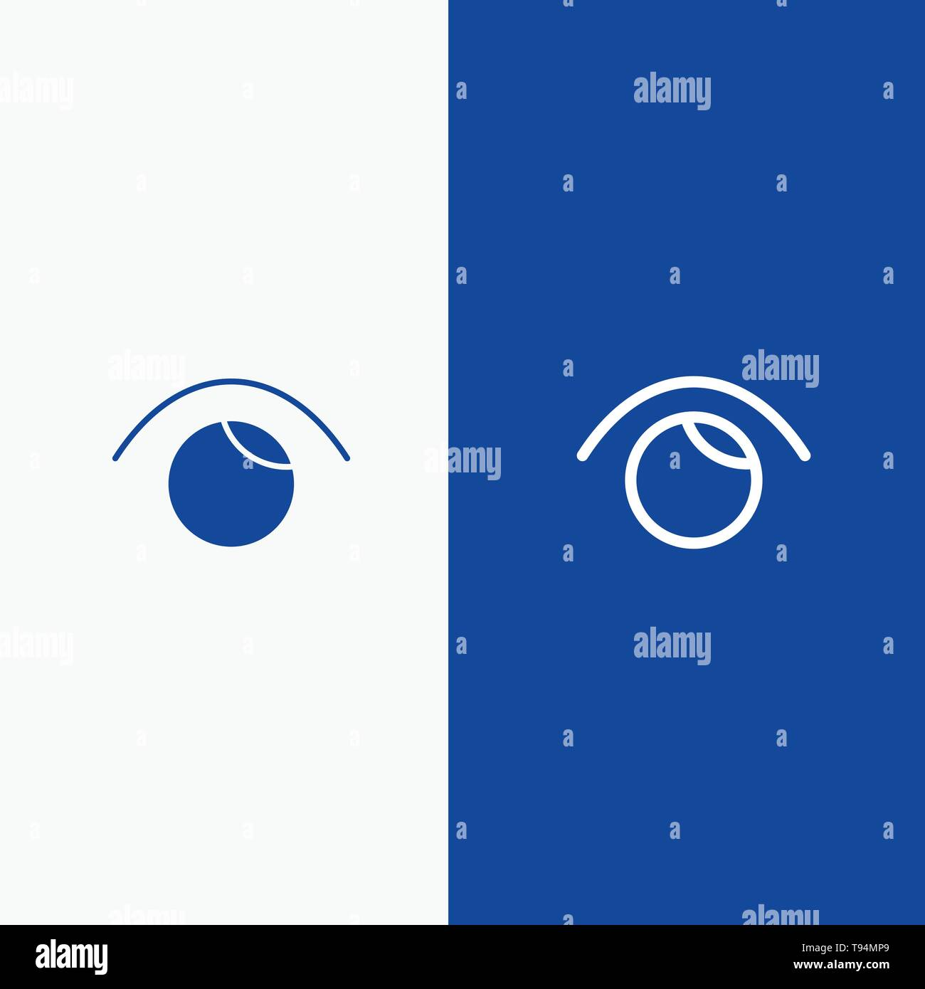 Eye, View, Watch, Twitter Line and Glyph Solid icon Blue banner Line and Glyph Solid icon Blue banner - Stock Image