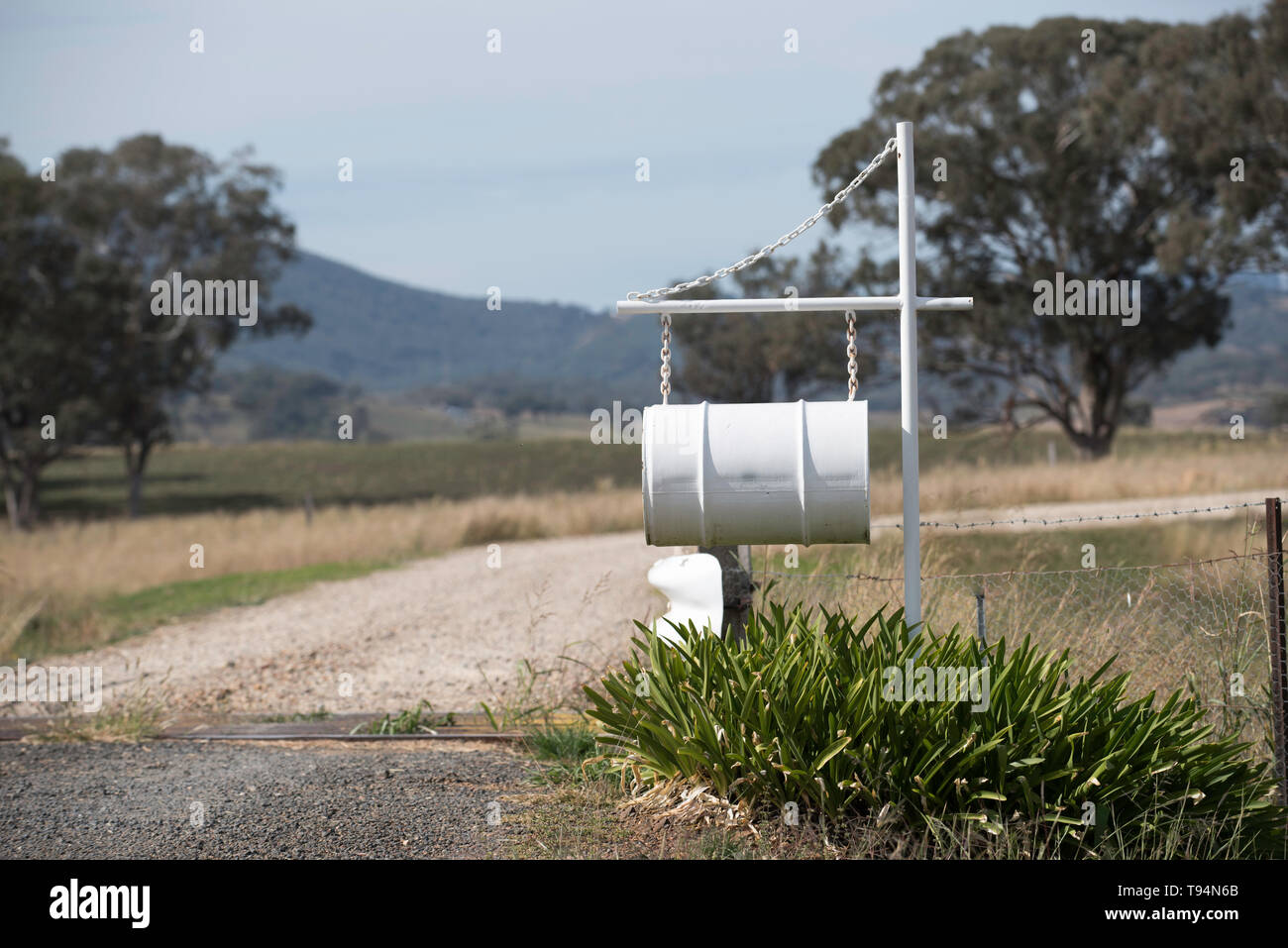 An Old Oil Drum Is Converted Into A Large Letterbox At The Entrance To A Rural Property In North Western New South Wales Australia Stock Photo Alamy